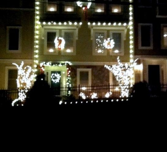 Holiday Lighting Installation On Townhouse In Occoquan Virginia